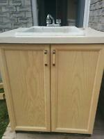 Laundry tub with cupboards