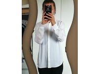 Women's Plain Casual Shirt Blouse H&M Long Sleeve Fitted Soft Cotton Summer