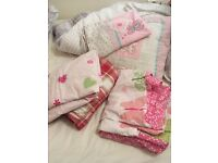 Girls single bedding 4 sets, 3 from next one with cushion. Pet/smoke free home! Excellent condition