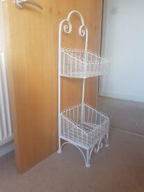 White basket storage stand