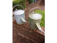 Two 3 Gallon Galvanised Watering Cans