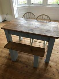 Reclaimed wooden dining room table