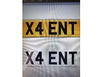 X4 ENT Cherished Number Plate for Sale