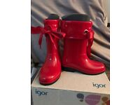Igor red wellies brand new with box size13 my daughter is 12 and 1/2 but still very spacious