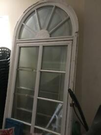 Large timber glass pane windows with fan