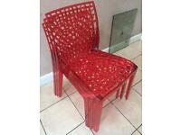 WOW 3 x Designer laser cut red chairs for dining table desk