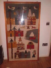 Unique Egyptian framed rug