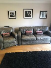 Halo Charcoal leather 3 seater settee excellent condition