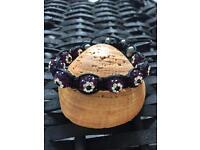 Purple crystal ball extended length rope bracelet
