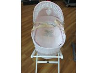 Mamas and papas Millie and Boris pink and white Moses basket with matching sleep bag