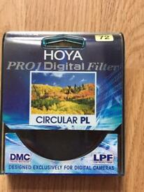 Hoya circular polarisor filter 72mm (mint condition)