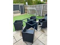 Black Rattan Table & Chairs