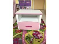 White and pink bedside cabinet