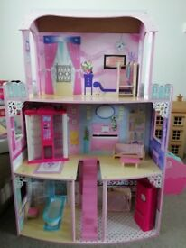 Large dolls house for barbies and furniture
