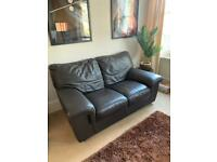 2-Seater Dark Brown Leather Sofa - MUST GO BY OCTOBER 2nd - £50 Clapham