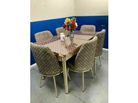 💥💯FLASH FLASH SALE🌈 🌈 ON FIERY VERSACE BLACK & GOLD GLASS EXTENDABLE DINING TABLE WITH 6 CHAIRS