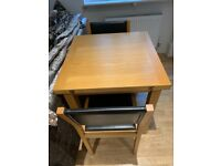 Belmont oak square extending dining table from John Lewis, 2 chairs
