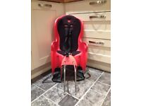 Red/black Halfords child's bike seat with carrier and bike fixings £10