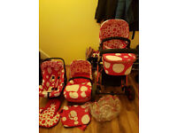 Cosatto Giggle Red Bubble 3 in 1 Travel System Pram + Pushchair + Car Seat