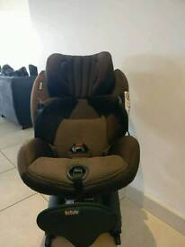 BeSafe isize car seat ( safest in the word) rear facing up to 4 yrs old.