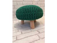 Green Knitted Footstool
