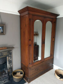 Antique Walnut Double Wardrobe with Mirrors