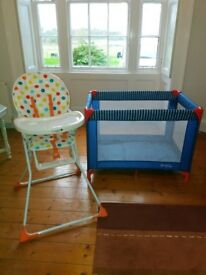 NEW TRAVEL COT AND HIGH CHAIR