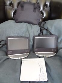 Technika PDVD4702 Player, two screens, dvd player with wiring and travel case