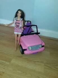 Barbie Doll And beach cruiser jeep