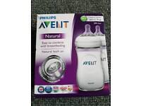 2 Avent 9oz natural baby bottles 1 month + BNIP