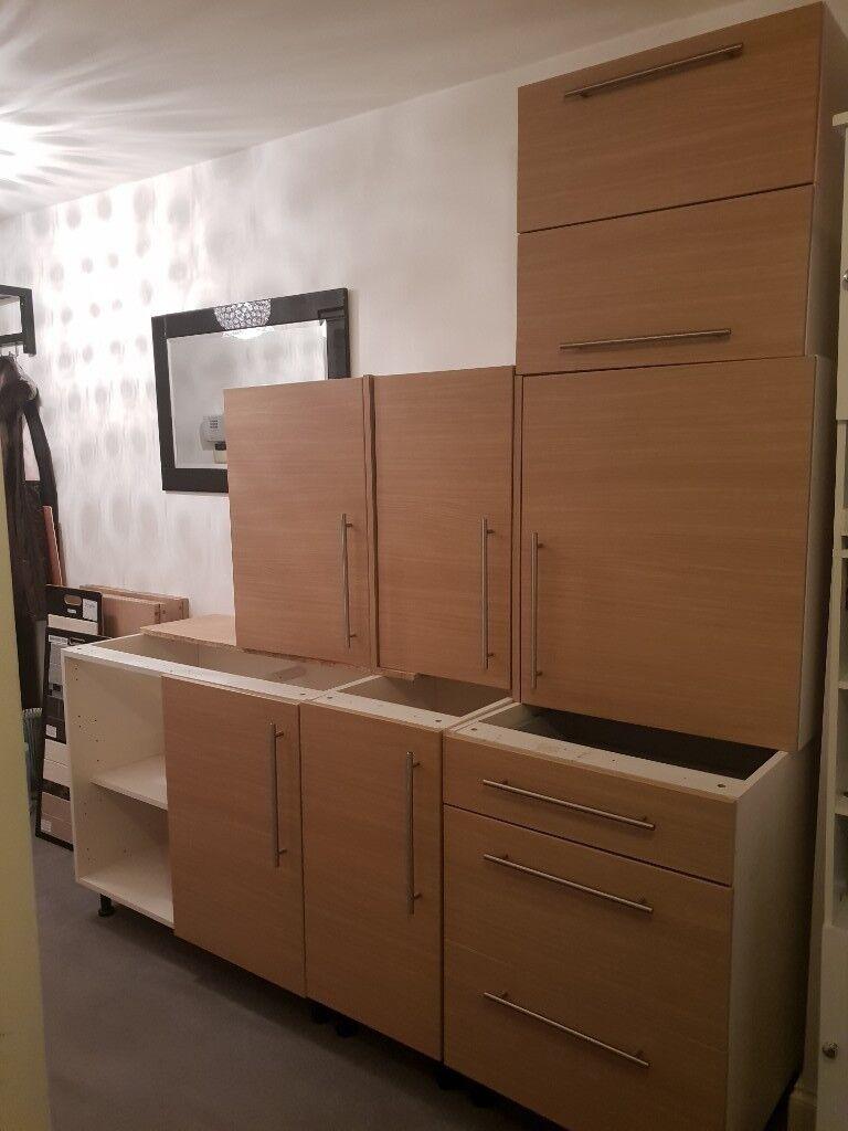 Second Hand Kitchen Cabinets Woodgrain Doors White Carcass
