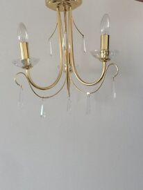 2 Pagazzi Brass Candle Ceiling Lights With Crystals
