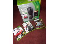 Xbox 360 Console, one controller, headset and 3 games