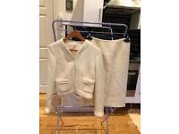 L.K. Bennet Ivory 90% Wool Skirt Suit8UK
