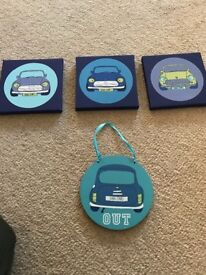 Next 3 car canvas & door hanger