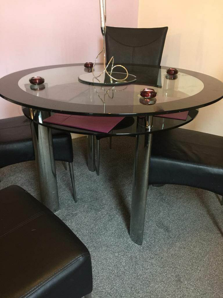 Harveys Round Double Glass Dining Table 4 Leather Chairs In