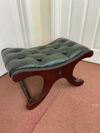 Vintage CHESTERFIELD Saddle back Leather foot Stool Green