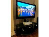 42 INCHES; PIONEER PLASMA TV WITH BLACK STAND, GLASS STAND AND SKY HD RECIEVER PDP-427