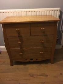 Next Girls Solid Pine Chest of Drawers With Heart Knobs
