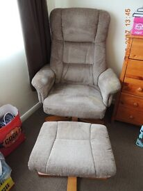 FABRIC RELAXING RECLINING CHAIR AND FOOTSTOOL