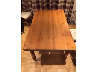 Solid shabby chic farmhouse solid pine kitchen table with drawer