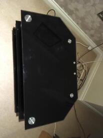 Black glass 3 shelves tv stand