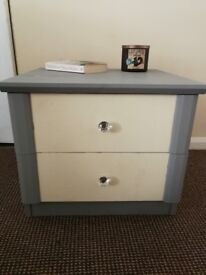 Pair of grey and white bedside tables
