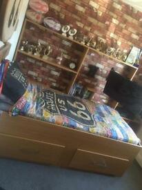 Single bed with wall cabinet with & drawers