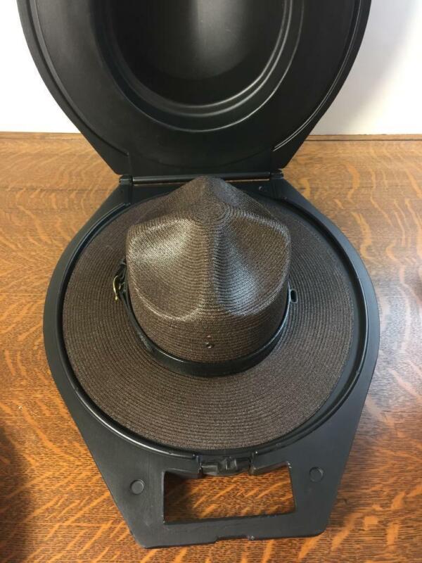 STRATTON Size 7 3/8 Self-forming Dark Brown Straw Campaign Hat in Hard Case