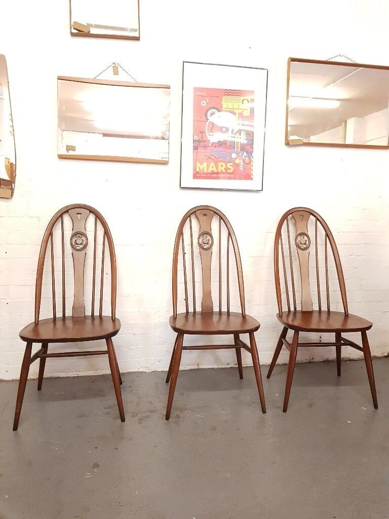 3 x Ercol Vintage Swan Back Chairs