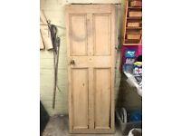 Antique pine door with original handles and lock