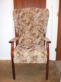 High seat wing back fireside chair