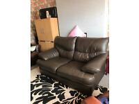2 seat leather sofa brown