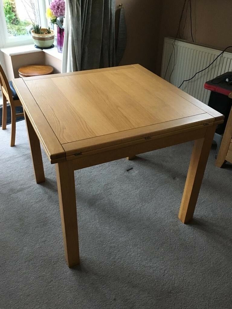 Harveys Oak Flip Top Extending Dining Table With 6 Chairs